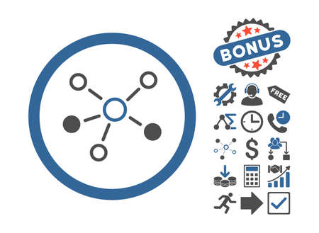 linkage: Relations icon with bonus symbols. Vector illustration style is flat iconic bicolor symbols, cobalt and gray colors, white background. Illustration