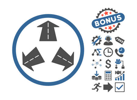 directions icon: Road Directions icon with bonus pictograph collection. Vector illustration style is flat iconic bicolor symbols, cobalt and gray colors, white background.