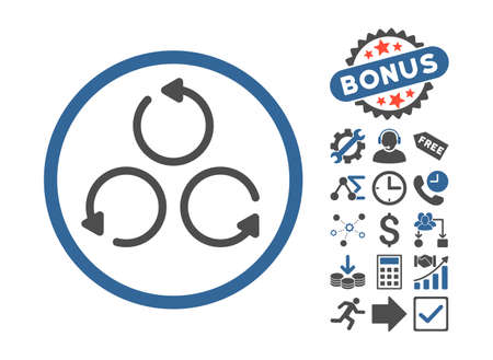 synchronize: Rotation icon with bonus pictogram. Vector illustration style is flat iconic bicolor symbols, cobalt and gray colors, white background.