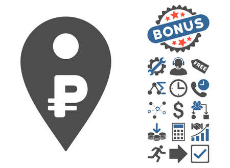 Rouble Map Marker pictograph with bonus icon set. Vector illustration style is flat iconic bicolor symbols, cobalt and gray colors, white background.