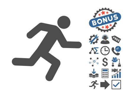 evacuate: Running Man pictograph with bonus icon set. Vector illustration style is flat iconic bicolor symbols, cobalt and gray colors, white background.