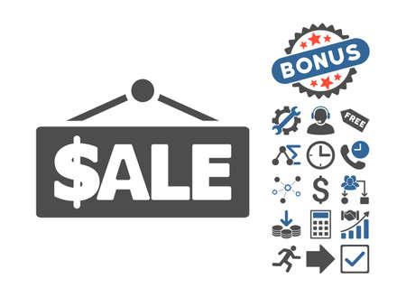 cobalt: Sale Label pictograph with bonus elements. Vector illustration style is flat iconic bicolor symbols, cobalt and gray colors, white background.