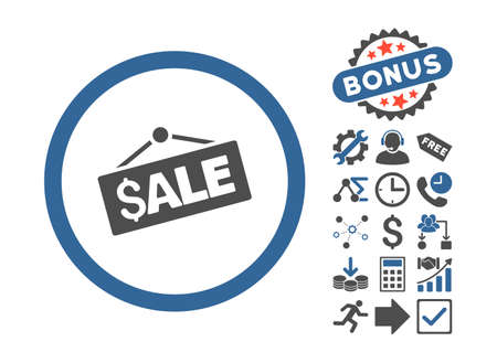 cobalt: Sale Signboard icon with bonus images. Vector illustration style is flat iconic bicolor symbols, cobalt and gray colors, white background.
