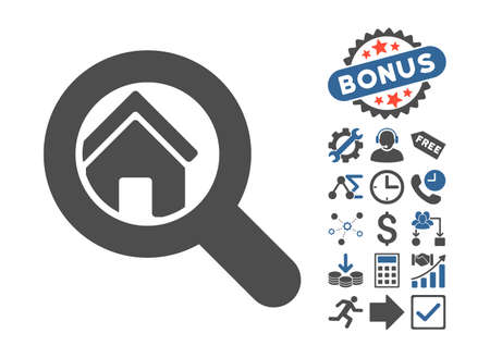 Search House pictograph with bonus symbols. Vector illustration style is flat iconic bicolor symbols, cobalt and gray colors, white background.
