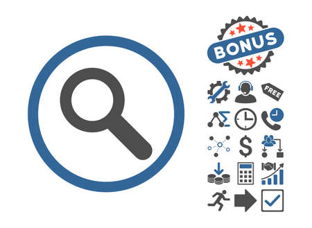 zoom in: Search icon with bonus pictograph collection. Vector illustration style is flat iconic bicolor symbols, cobalt and gray colors, white background.