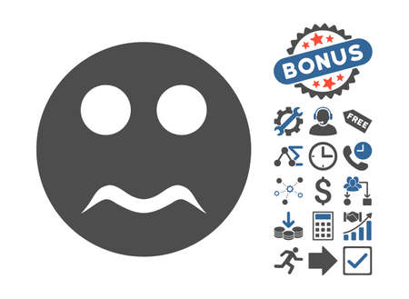 cobalt: Serious icon with bonus design elements. Vector illustration style is flat iconic bicolor symbols, cobalt and gray colors, white background.