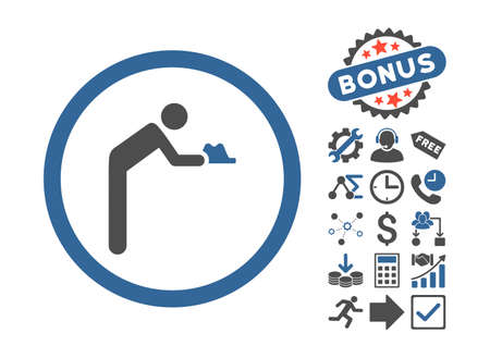 Servant icon with bonus symbols. Vector illustration style is flat iconic bicolor symbols, cobalt and gray colors, white background.