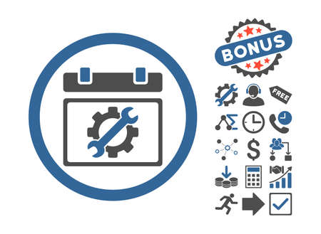 cobalt: Service Day icon with bonus symbols. Vector illustration style is flat iconic bicolor symbols, cobalt and gray colors, white background. Illustration