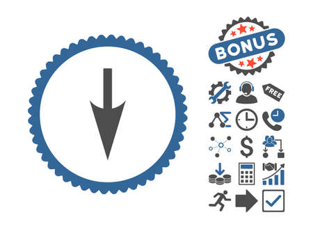 Sharp Down Arrow icon with bonus pictograph collection. Vector illustration style is flat iconic bicolor symbols, cobalt and gray colors, white background. Illustration