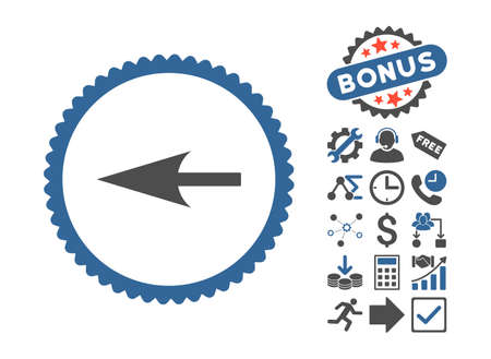 Sharp Left Arrow pictograph with bonus elements. Vector illustration style is flat iconic bicolor symbols, cobalt and gray colors, white background.