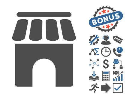 cobalt: Shop Building pictograph with bonus pictures. Vector illustration style is flat iconic bicolor symbols, cobalt and gray colors, white background.