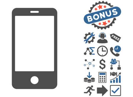 electronic organizer: Smartphone icon with bonus icon set. Vector illustration style is flat iconic bicolor symbols, cobalt and gray colors, white background. Illustration