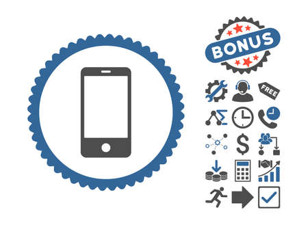 Smartphone icon with bonus images. Vector illustration style is flat iconic bicolor symbols, cobalt and gray colors, white background.
