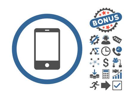cobalt: Smartphone icon with bonus symbols. Vector illustration style is flat iconic bicolor symbols, cobalt and gray colors, white background. Illustration