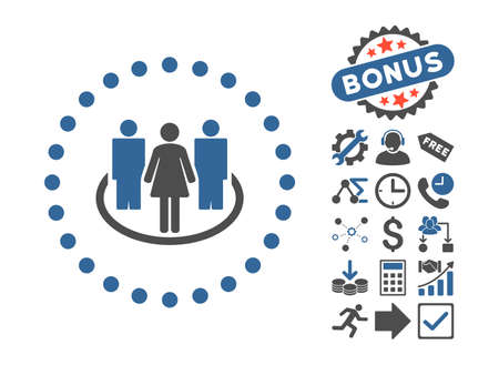 commune: Society icon with bonus clip art. Vector illustration style is flat iconic bicolor symbols, cobalt and gray colors, white background.