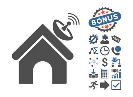 space antenna: Space Antenna Building icon with bonus images. Vector illustration style is flat iconic bicolor symbols, cobalt and gray colors, white background.