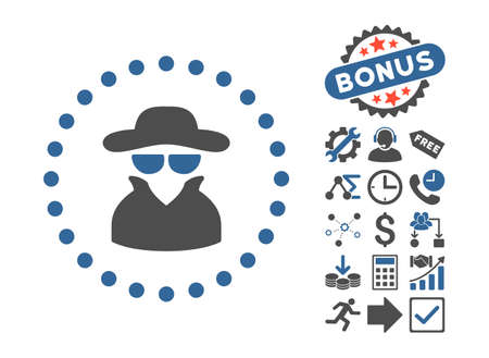 fbi: Spy icon with bonus design elements. Vector illustration style is flat iconic bicolor symbols, cobalt and gray colors, white background.