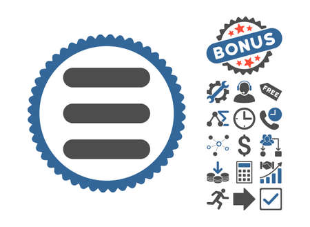 item list: Stack pictograph with bonus icon set. Vector illustration style is flat iconic bicolor symbols, cobalt and gray colors, white background.