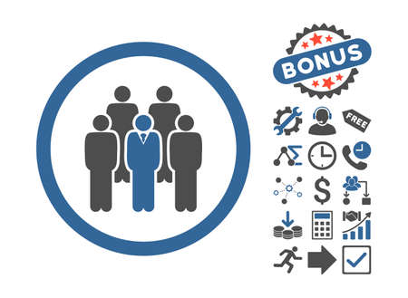 cobalt: Staff pictograph with bonus pictograph collection. Vector illustration style is flat iconic bicolor symbols, cobalt and gray colors, white background.