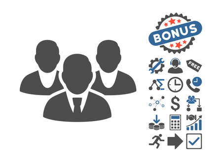 public figure: Staff icon with bonus clip art. Vector illustration style is flat iconic bicolor symbols, cobalt and gray colors, white background. Illustration