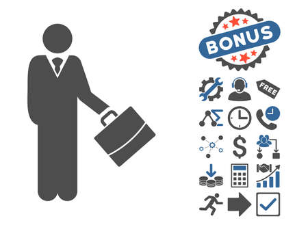 bookkeeper: Standing Businessman pictograph with bonus clip art. Vector illustration style is flat iconic bicolor symbols, cobalt and gray colors, white background.
