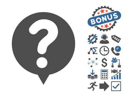 Status Balloon pictograph with bonus pictures. Vector illustration style is flat iconic bicolor symbols, cobalt and gray colors, white background. Illustration