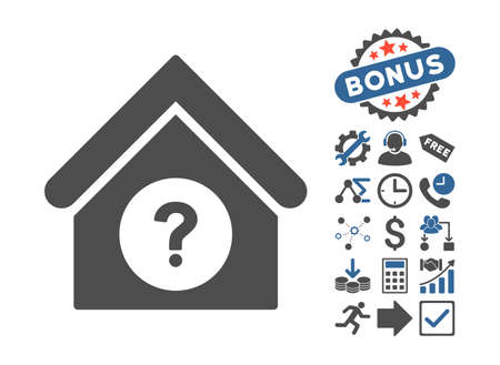 status icon: Status Building icon with bonus design elements. Vector illustration style is flat iconic bicolor symbols, cobalt and gray colors, white background.