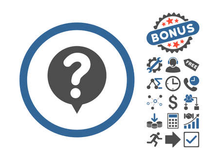 status icon: Status icon with bonus images. Vector illustration style is flat iconic bicolor symbols, cobalt and gray colors, white background.