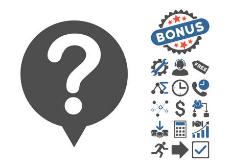 inquire: Status pictograph with bonus pictograph collection. Vector illustration style is flat iconic bicolor symbols, cobalt and gray colors, white background.