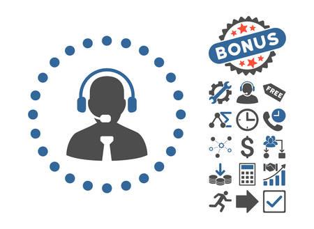 administrador de empresas: Apoyar pictograma de Chat con el icono de bonus de conjunto. estilo de ilustración vectorial es plana símbolos icónicos bicolor, el cobalto y los tonos de gris, fondo blanco. Vectores