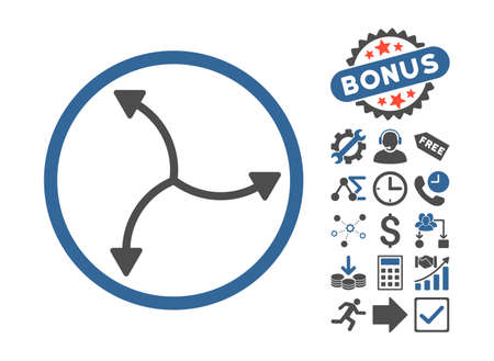 cobalt: Swirl Arrows icon with bonus pictures. Vector illustration style is flat iconic bicolor symbols, cobalt and gray colors, white background.