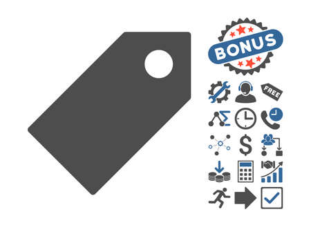 operand: Tag icon with bonus design elements. Vector illustration style is flat iconic bicolor symbols, cobalt and gray colors, white background. Illustration