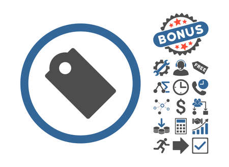 operand: Tag icon with bonus icon set. Vector illustration style is flat iconic bicolor symbols, cobalt and gray colors, white background.
