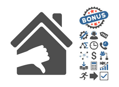 terrible: Terrible House pictograph with bonus icon set. Vector illustration style is flat iconic bicolor symbols, cobalt and gray colors, white background.