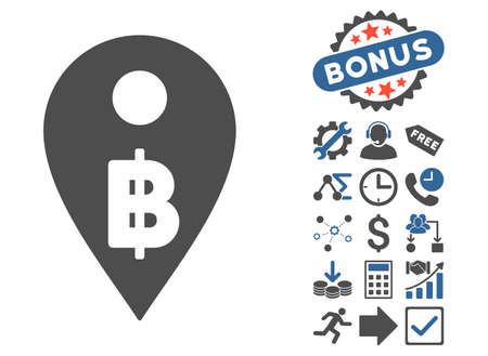 Thai Baht Map Marker icon with bonus design elements. Vector illustration style is flat iconic bicolor symbols, cobalt and gray colors, white background.
