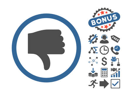 cobalt: Thumb Down icon with bonus symbols. Vector illustration style is flat iconic bicolor symbols, cobalt and gray colors, white background.
