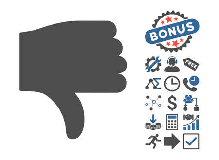 ugly gesture ugly gesture: Thumb Down pictograph with bonus symbols. Vector illustration style is flat iconic bicolor symbols, cobalt and gray colors, white background.