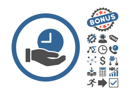 Time Service icon with bonus pictograph collection. Vector illustration style is flat iconic bicolor symbols, cobalt and gray colors, white background. Vettoriali