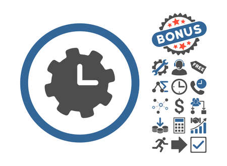 cobalt: Time Settings pictograph with bonus pictogram. Vector illustration style is flat iconic bicolor symbols, cobalt and gray colors, white background.
