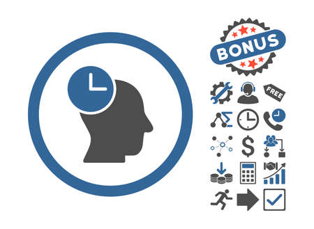 temporary workers: Time Thinking icon with bonus pictograph collection. Vector illustration style is flat iconic bicolor symbols, cobalt and gray colors, white background.