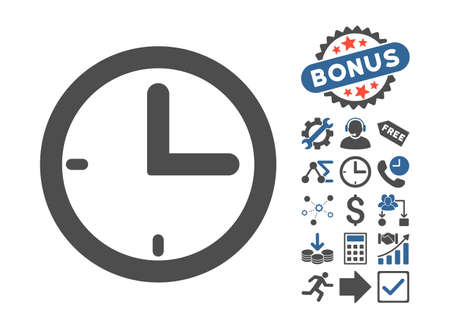 clockface: Time icon with bonus icon set. Vector illustration style is flat iconic bicolor symbols, cobalt and gray colors, white background. Illustration
