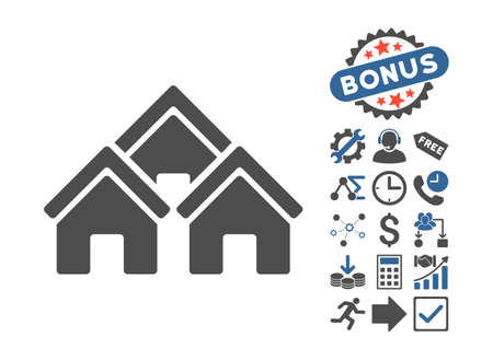 pictograph: Town Buildings pictograph with bonus elements. Vector illustration style is flat iconic bicolor symbols, cobalt and gray colors, white background.
