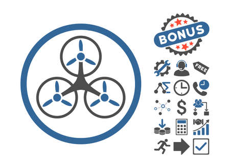 airflight: Tricopter pictograph with bonus icon set. Vector illustration style is flat iconic bicolor symbols, cobalt and gray colors, white background.