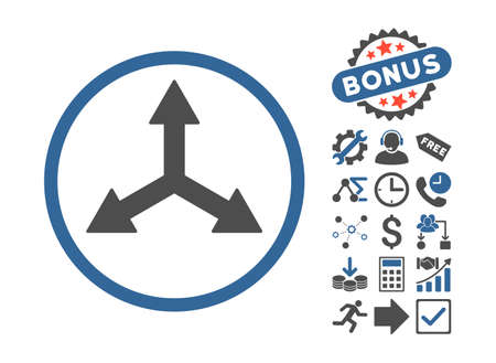 reshape: Triple Arrows pictograph with bonus pictograph collection. Vector illustration style is flat iconic bicolor symbols, cobalt and gray colors, white background.