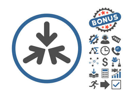 Triple Collide Arrows icon with bonus clip art. Vector illustration style is flat iconic bicolor symbols, cobalt and gray colors, white background.