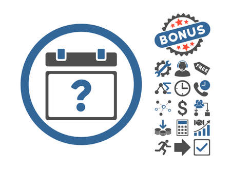 unnamed: Unknown Date icon with bonus elements. Vector illustration style is flat iconic bicolor symbols, cobalt and gray colors, white background. Illustration
