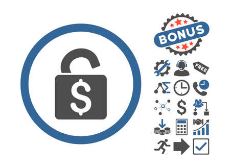 decrypt: Unlock Banking Lock icon with bonus pictures. Vector illustration style is flat iconic bicolor symbols, cobalt and gray colors, white background.