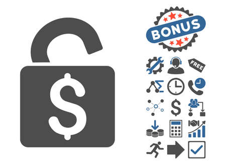 decrypt: Unlock Banking Lock pictograph with bonus elements. Vector illustration style is flat iconic bicolor symbols, cobalt and gray colors, white background. Illustration