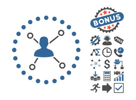 User Relations icon with bonus images. Vector illustration style is flat iconic bicolor symbols, cobalt and gray colors, white background. Illustration