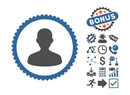 User icon with bonus pictures. Vector illustration style is flat iconic bicolor symbols, cobalt and gray colors, white background.